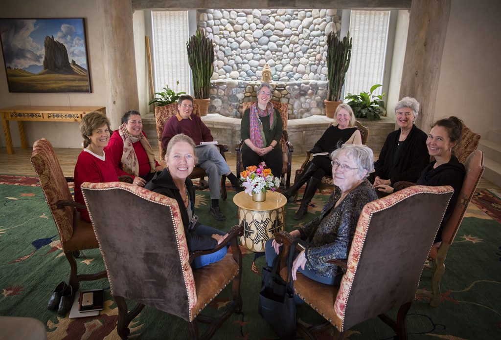 From the left around the circle: Joanie Kleypas, Diana Chapman Walsh, Camille Seaman, Susi Moser, Beth Sawin, Kathleen Dean Moore, Sarah Buie, Willa Miller, and Mary Catherine Bateson.